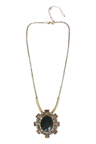 Atomic Gold and Black Gemstone Necklace