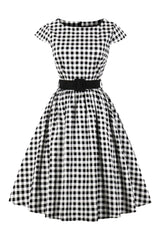 Black and White Plaid Swing Dress with Belt