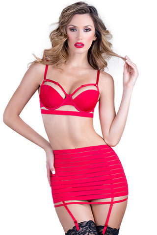 Atomic Red Siren Strap Me In Three Piece Bra Set