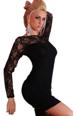 Sheer Black Lace Clubwear Dress