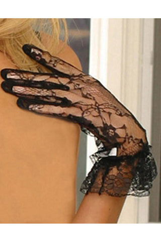 Black Lace Wrist Gloves