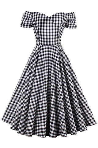 Off-Shoulder Plaid Swing Dress