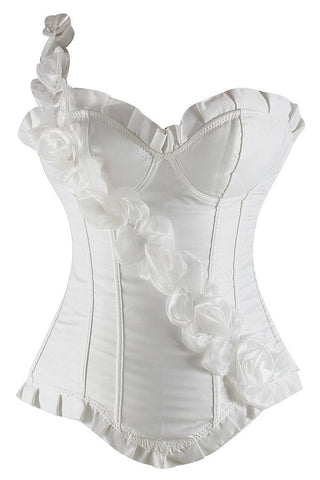 White Floral One Shoulder Strap Corset