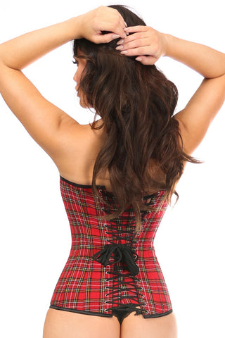 Red Plaid Steel Boned Overbust Corset