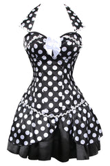 Atomic Black and White Polka Dot Collar Corset Dress - 2XL Only