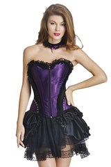 Purple Satin Corset and Ruffled Skirt