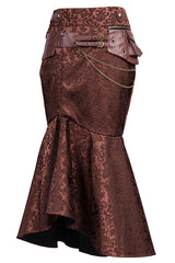 Brown Jacquard Fishtail Skirt with Pouch