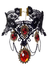 Atomic Black Lace And Red Crystal Gems Choker Necklace
