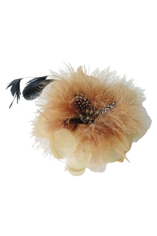 Apricot Flower Hat with Brooch Pin