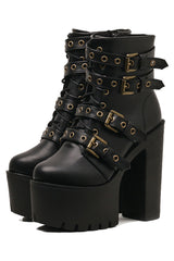 Atomic Buckle and Rivet Platform Boots
