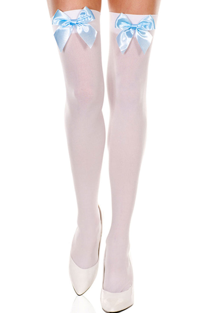 f73e2237449 Atomic White Knee High Stockings with Blue Bow