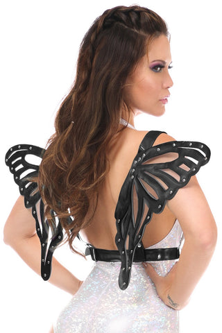 Black Patent Body Harness w/ Butterfly Wings