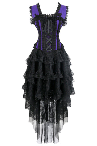 Purple Burlesque Inspired Corset and Skirt Set