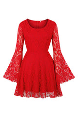Red Gothic Flared Dress