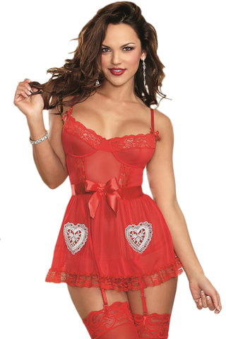 Red Lace and Hearts Babydoll