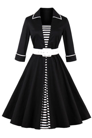 Black Vintage Striped Patchwork Swing Dress
