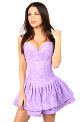 Top Drawer Premium Lilac Lace Steel Boned Ruffle Corset Dress