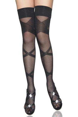 Black Criss Cross Stockings