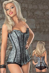 Black and Grey Lace Overbust Corset