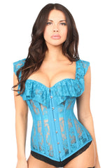 Teal Sheer Lace Steel Boned Corset
