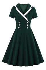 Atomic Vintage Double-Breasted Midi Dress