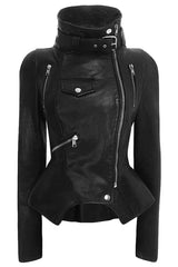 Turtleneck Zip Faux Leather Jacket