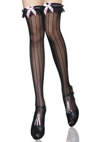 Black Stripes Thigh High Stockings