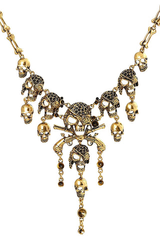 Atomic Gold Pirate Skull Necklace