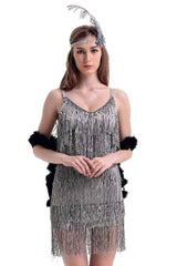 Silver Fringed Flapper Costume