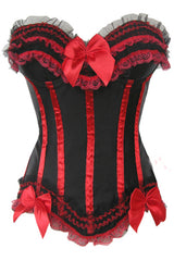 Black and Red Ruffles Trimmed Corset