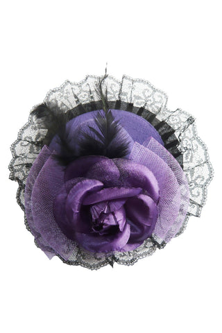 Purple Rose and Lace Mini Top Hat
