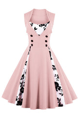 Pink Buttoned Floral Cocktail Dress