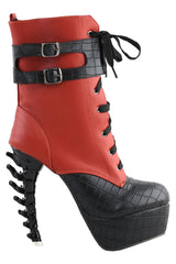 Two Tone Buckle Up High Top Boots