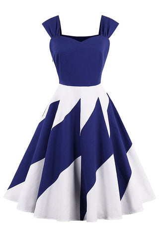 Blue And White Block Swing Dress