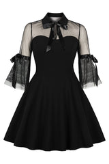 Black Gothic Bowknot Swing Dress