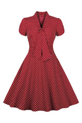 Retro Red Polka Dot Swing Dress