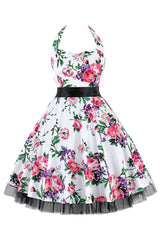 White Floral Halter Swing Dress