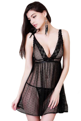 Black Lace and Dots Babydoll