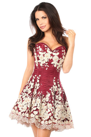 Wine Red Floral Embroidered Steel Boned Corset Dress