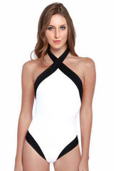 White Cross Halter One Piece