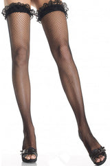 Black Fishnet Thigh High Stockings