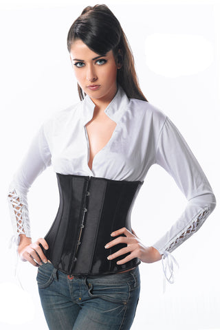 Atomic Black Satin Underbust Corset