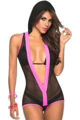 Black Mesh See Through Hooded Romper