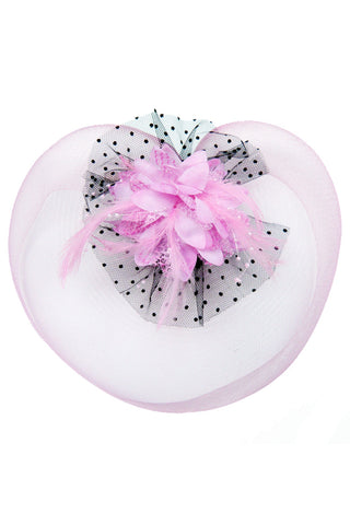 Pink Net Fascinator Hair Clip
