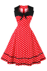 Red and White Sleeveless Dotted Dress