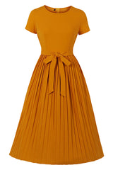 Classic Solid Colored Pleated Dress