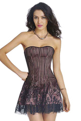 Pink Striped Strapless Lace Corset Dress