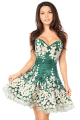 Dark Green Floral Steel Boned Corset Dress