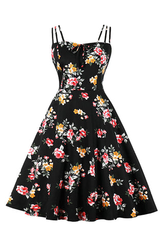 Black Vintage Summer Garden Dress