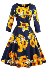 Dark Blue Sunflower Printed Swing Dress